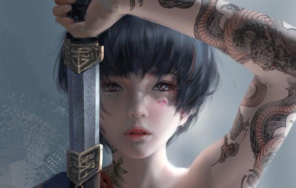 Picture girl, sword, fantasy, katana, tattoo, asian, digital art, artwork, Samurai, warrior, fantasy art, fantasy girl