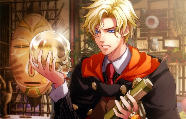 Picture room, anger, glass, skull, mask, tie, guy, blue eyes, cloak, art, scroll, wand of fortune, …