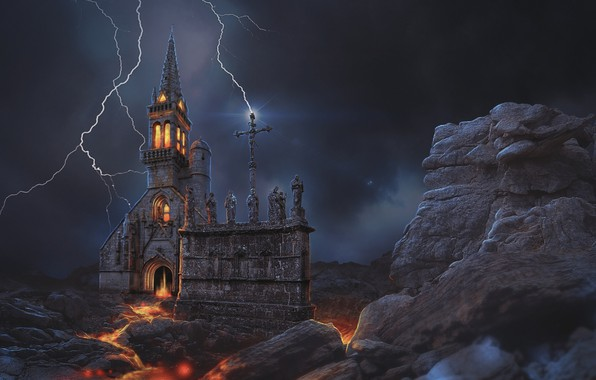 Picture night, lightning, ruins