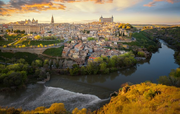 Photo wallpaper Tagus River, river, The Tagus River, building, Toledo, Toledo, Spain, panorama, home, Spain
