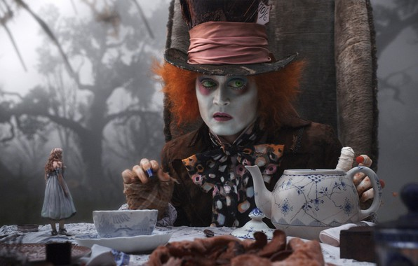 Picture Johnny Depp, the tea party, Alice in Wonderland, Mad Hatter, Johnny Depp, mad Hatter, fog …