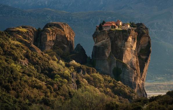 Picture mountains, nature, rocks, vegetation, Greece, the monastery, shrubs, Meteors, Materov.