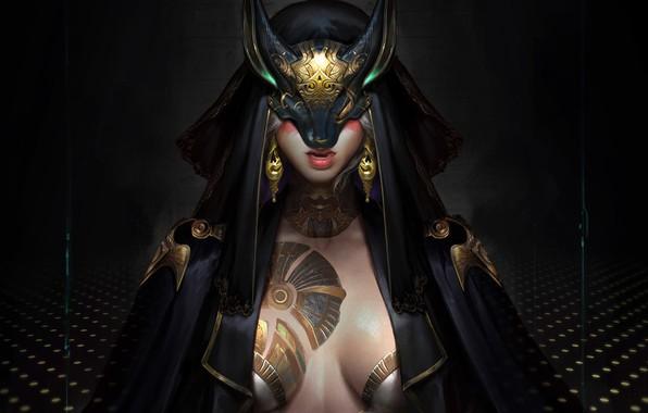 Photo wallpaper girl, mask, fantasy, art, cloak, art