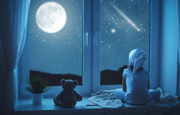 Picture night, the moon, child, window, bear, girl, sitting