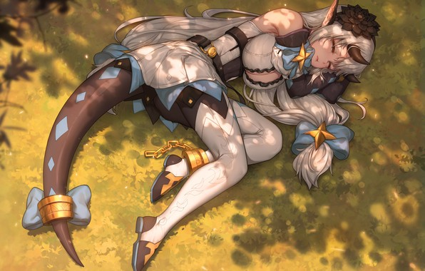 Picture Girl, Chest, The game, Sleeping, Girl, Feet, Lies, Horns, Legs, Art, Art, Breast, The sun's …