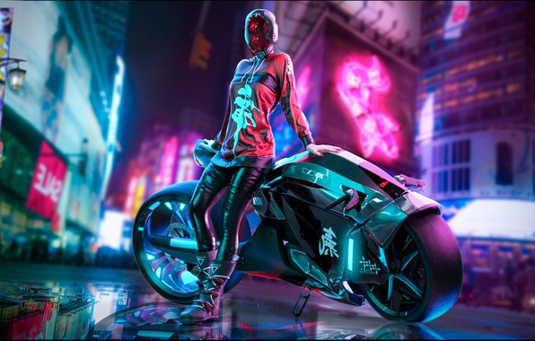 Picture Girl, The city, Neon, Motorcycle, Art, Cyberpunk, Cyberpunk
