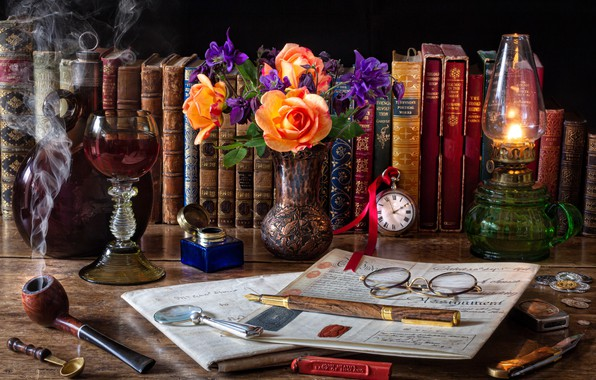 Picture flowers, style, watch, books, bottle, lamp, roses, tube, bouquet, handle, vase, magnifier, a glass of …