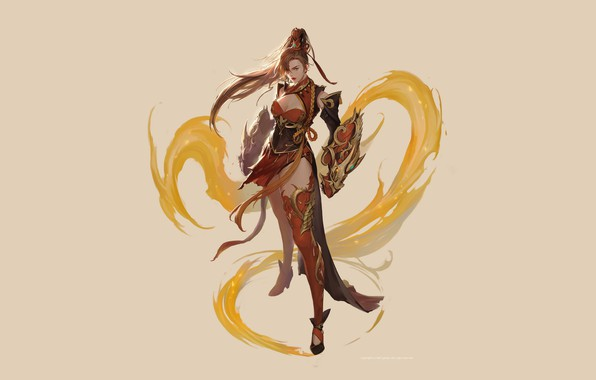 Picture Girl, Fantasy, Beautiful, Art, Style, Magic, Illustration, Elf, Minimalism, Characters, Figure, bom Yeon, Pyran illust