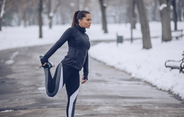 Picture woman, winter, snow, training, running, stretching, physical activity