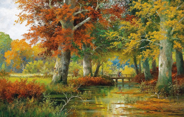 Picture Alois Arnegger, Autumn landscape, Austrian painter, Autumn Landscape, Austrian painter, oil on canvas, Alois Arnegger