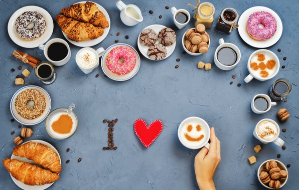 wallpaper coffee cookies sweets donuts love i love you heart