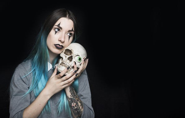 Picture girl, eyes, skull, tattoo, Halloween, tattoo