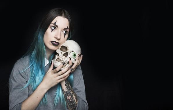 Picture girl, eyes, skull, tattoo, Halloween, tattoo