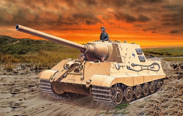 Picture war, art, tank, ww2, hunting tiger