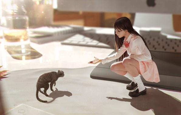 Picture anime, art, girl, neko, care, kitty, Rui Li, In my dreams you're still with me