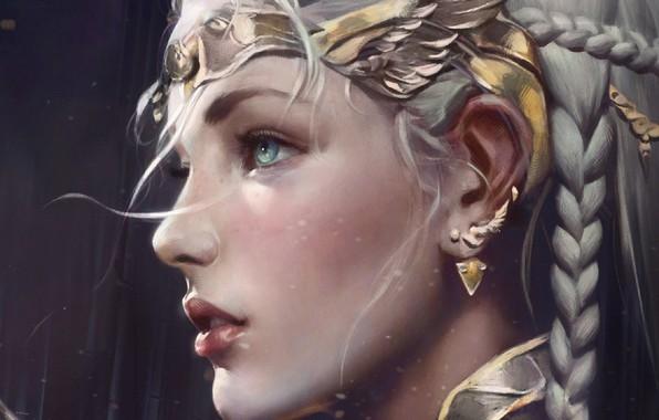 Picture earrings, braids, elf, blue eyes, Diadema, princess, in profile, pointy, elf girl, Dark Avenger