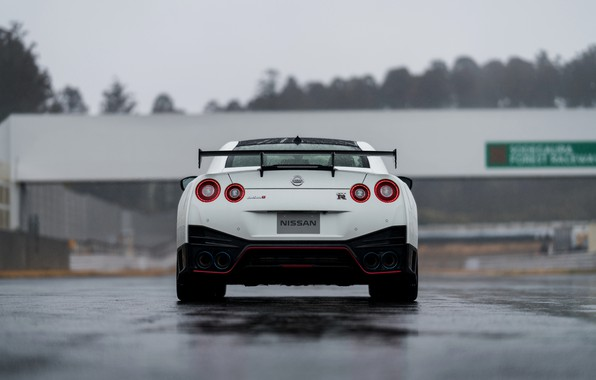 Picture white, back, Nissan, GT-R, R35, Nismo, 2019