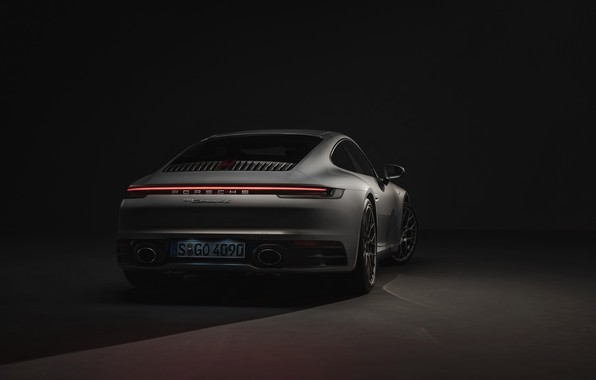Picture coupe, 911, Porsche, rear view, Carrera 4S, 992, 2019
