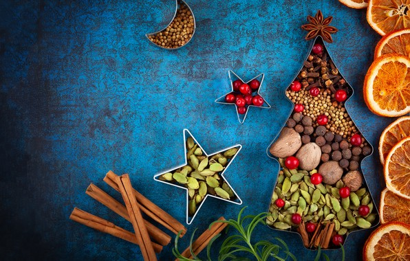 Picture holiday, orange, Christmas, New year, nuts, cinnamon, spices
