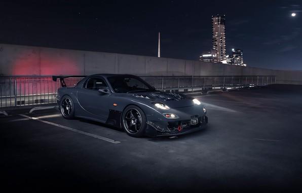 Picture light, night, the city, Mazda, RX7, Mazda RX-7
