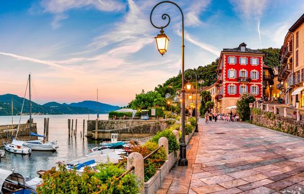 Picture building, home, yachts, lights, Italy, boats, promenade, Italy, harbour, Maggiore, Lake Maggiore, Cannobio, Cannobio, Lake …