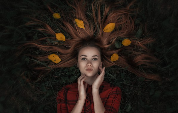 Picture grass, leaves, hair, Girl, lies, Alexander Tishkevich