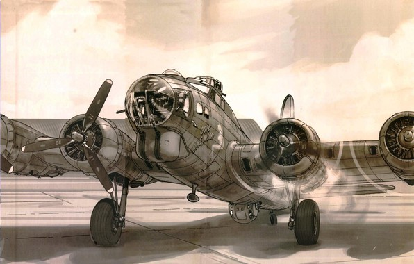 Picture figure, Boeing, start, bomber, USAF, B-17, Flying fortress, Flying Fortress