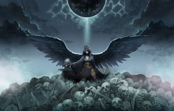 Picture look, wings, angel, fantasy, art, skull, skeletons, the angel of death