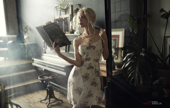Picture girl, pose, mood, dress, blonde, book, Alice Liss, Nick Mölln