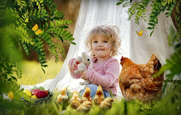 Picture Easter, Child, chicken.