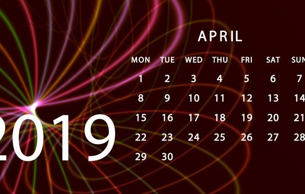 Picture calendar, April, 2019