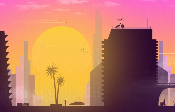 Picture Sunset, The sun, Minimalism, The city, Art, Synth, Sunset City, Retrowave, Synthwave, New Retro Wave, ...