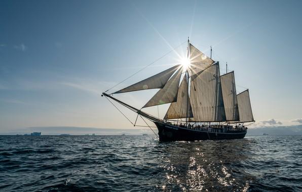 Picture sea, sailboat, schooner, Rembrandt van Rijn