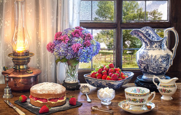 Picture flowers, style, berries, lamp, bouquet, window, strawberry, mug, Cup, cake, sugar, pitcher, still life, hydrangea