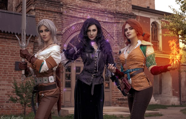 Picture girls, The Witcher, Triss, Ciri, Yen, Kristina Borodkina, based on the game