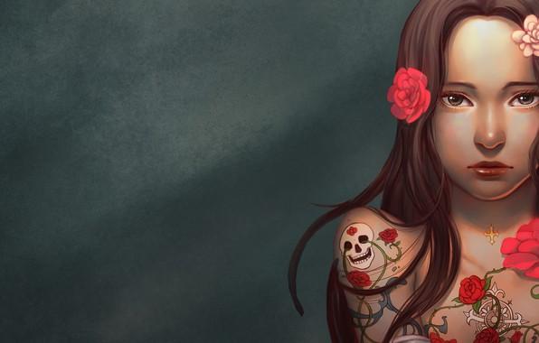 Picture Girl, sake, rose, long hair, minimalism, brown eyes, flowers, tattoo, lips, brunette, digital art, artwork, …