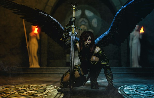 Picture girl, wings, the demon, Temple, darkness.