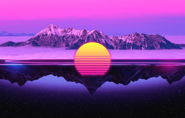 Picture The sun, Reflection, Mountains, Music, Star, 80s, Neon, 80's, Synth, Retrowave, Synthwave, New Retro Wave, …