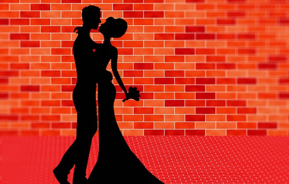 Picture dance, bouquet, lovers, silhouettes, brick wall, vector graphics
