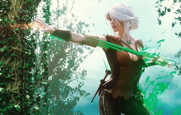 Picture forest, look, girl, magic, Weapons