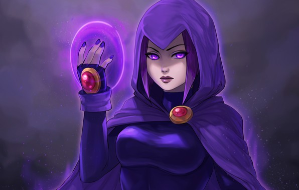 Picture chest, girl, hood, raven, art, DC Comics, teen titans