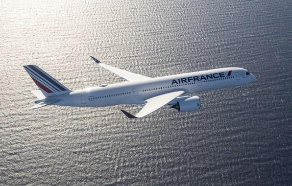 Picture Sea, Airbus, Air France, Wing, Airbus A350-900, A passenger plane, Airbus A350 XWB