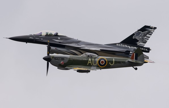 Picture F-16, Spitfire, Fighter