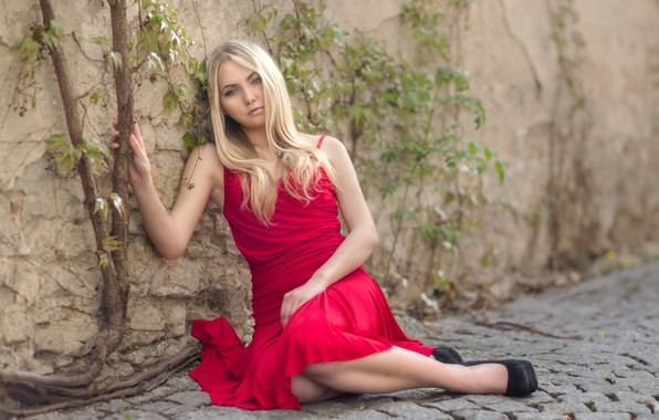 Picture pose, mood, blonde, red dress, bridge, Robert Chrenka