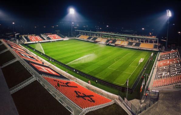 Picture Field, Football, Top, Stadium, Lawn, Ural, Floodlight, Urals, Bumblebees, Orange and black, Yekaterinburg Arena, FC …