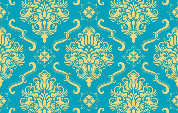 Picture flowers, yellow, background, blue, ornament, style, vintage, ornament, seamless, victorian