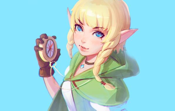 Picture girl, fantasy, blue eyes, blonde, digital art, artwork, compass, fantasy art, Elf, necklace, braids, hood, …