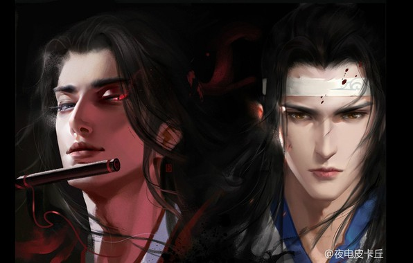 Picture flute, long hair, two guys, burning eyes, Mo Dao Zu Shi, Master evil cult, Wei …
