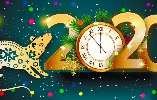 Picture photo, Watch, Snowflakes, New year, Rat, 2020, Rays of light, Vector graphics