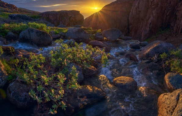 Picture the sun, rays, landscape, sunset, mountains, nature, river, stones, vegetation, The Kola Peninsula, Konstantin Voronov, …